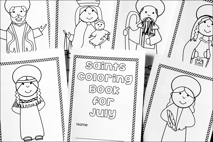 Pages from the July Catholic Saints Coloring Booklet | Real Life at Home