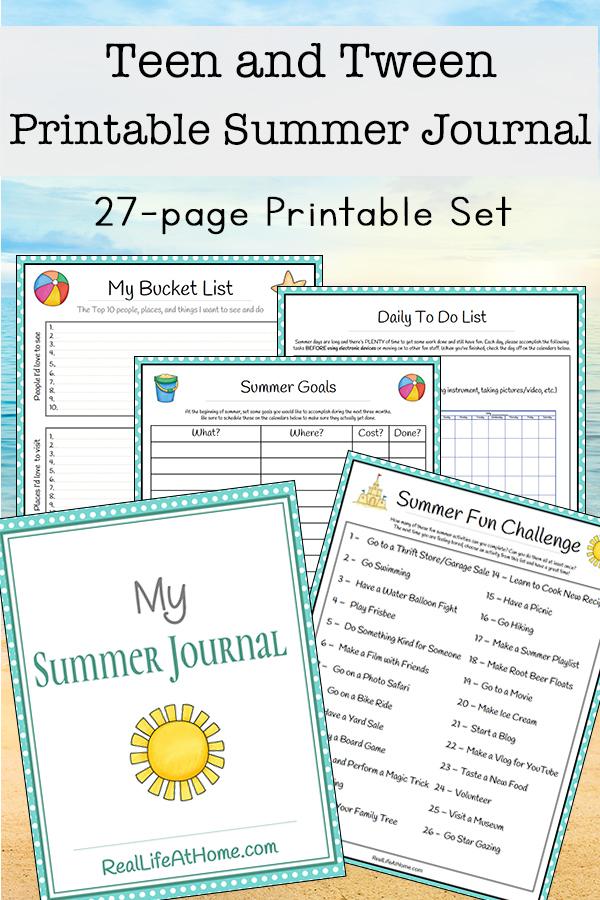 Tween and Teen Summer Journal 27 page Printable Packet