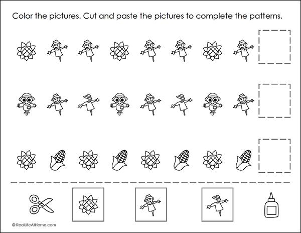 Fall Math Patterns Worksheet