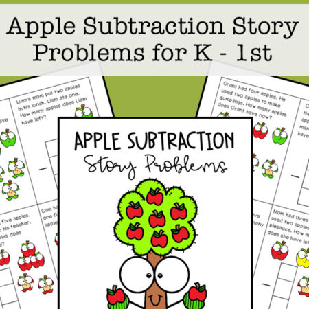 Printable math task cards for kindergarten and 1st grade students to work on basic subtraction story problems with helpful pictures.