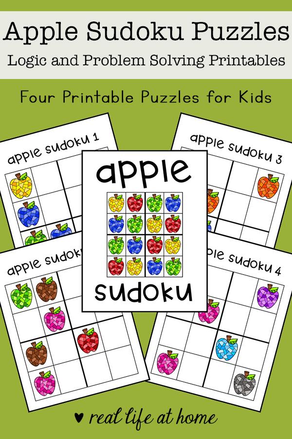 Apple Sudoku Printable Puzzle Set for Kids