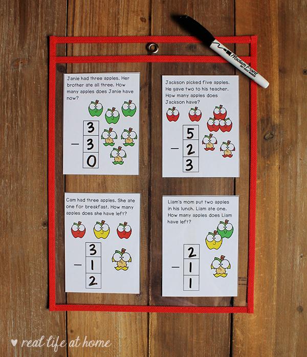 Subtraction Story Problem Task Cards for Kindergarten - 1st Grade