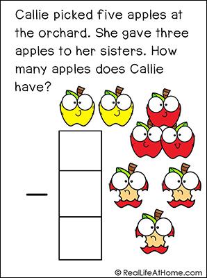 Story Problem Math Task Card Sample