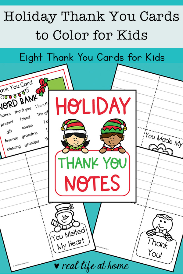 Print this set of eight thank you cards to color for kids. There is also a thank you note word bank page with helpful words and phrases.