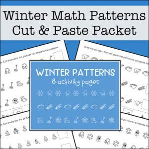 Winter Math Patterns Worksheets for Preschool - 1st Grade