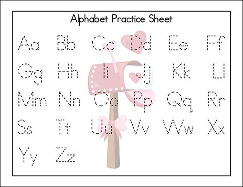 Valentine's Day Alphabet Practice Sheet for Preschool - 1st Grade