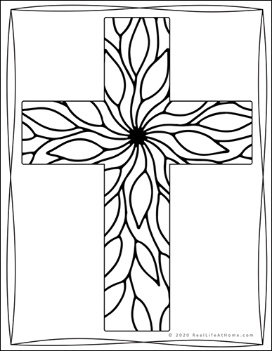 Religious Cross Coloring Page from Real Life at Home