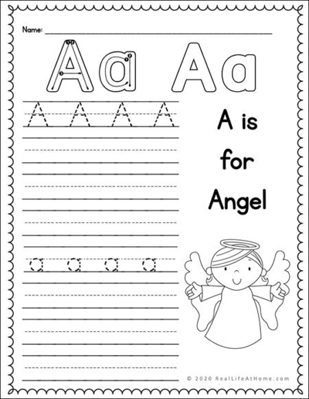 Angel Handwriting Page