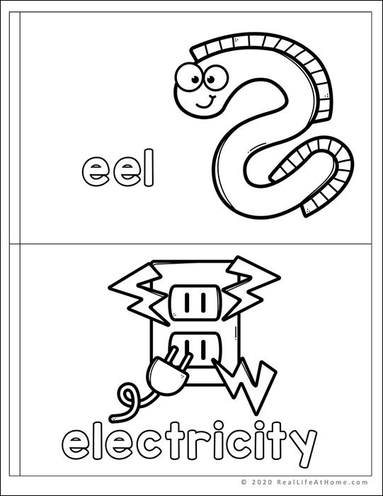 My Letter E mini book