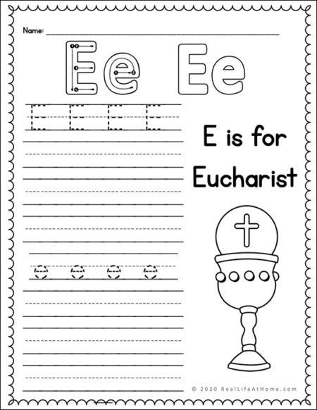 Eucharist Handwriting Page