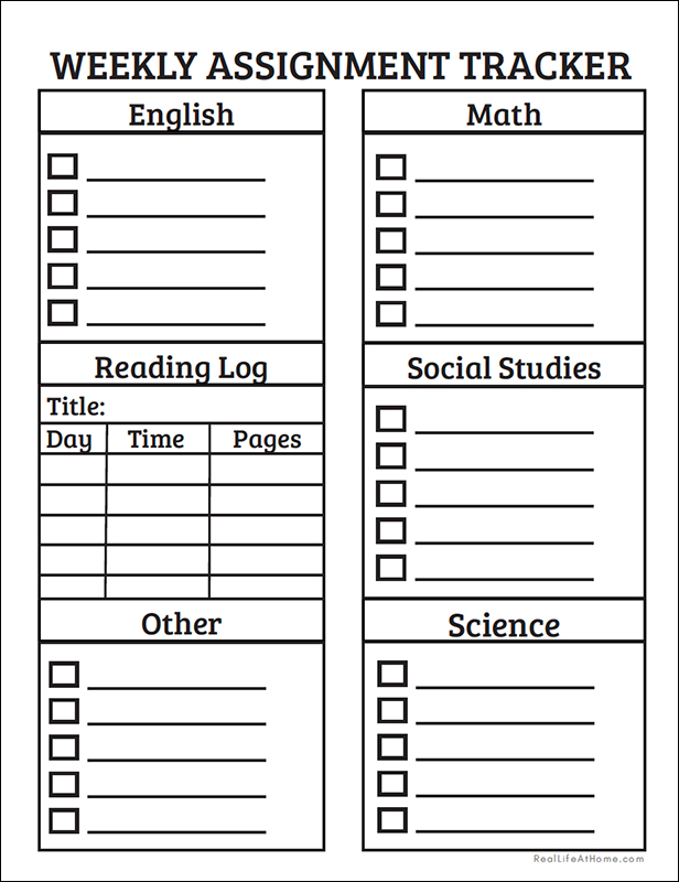 Weekly Planner Page for Students (in Black and White)