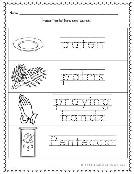 Catholic Handwriting Page