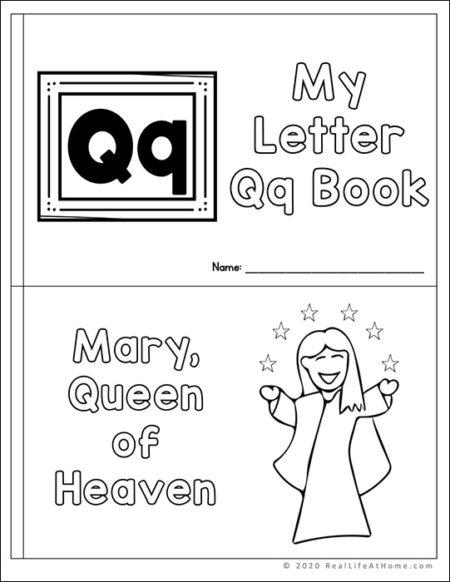Religious mini book for the letter Q