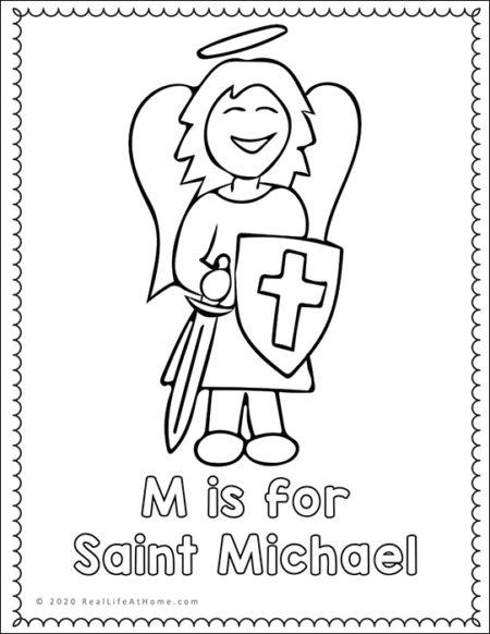 Saint Michael the Archangel Coloring Page