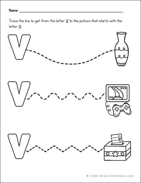 Letter V Line Tracing Page