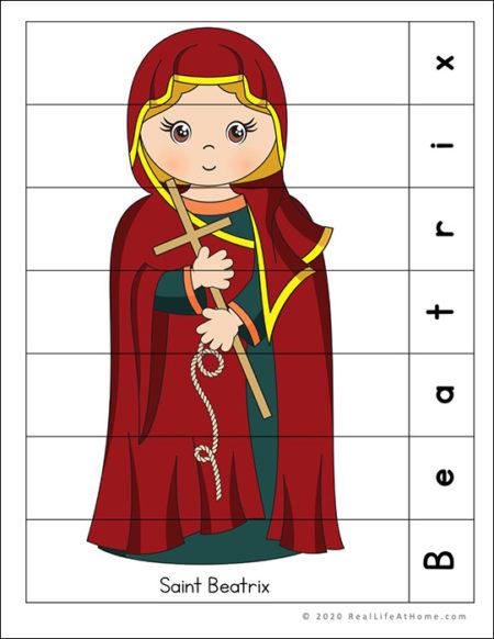 Saint Beatrix Puzzle Page Printable