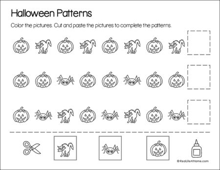 Halloween Math Pattern Page