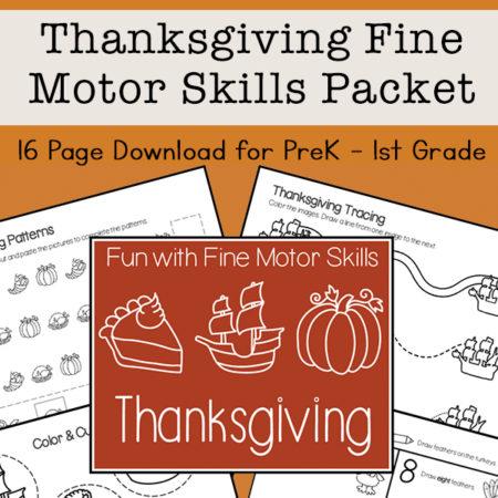 Fine Motor Skills Packet for Thanksgiving