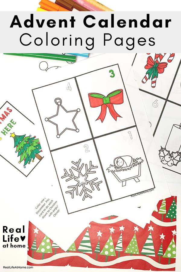 Advent Calendar Coloring Pages Set