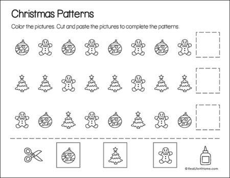 Christmas Math Patterns Printable Page