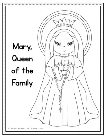 Mary Queen of the Family Coloring Page