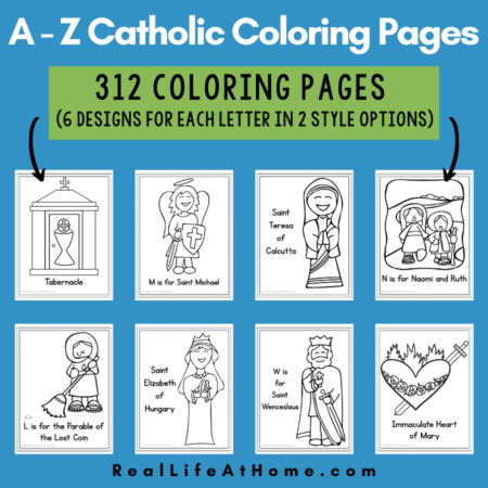 Catholic Coloring Pages A - Z (312 Pages)