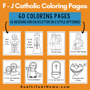 Catholic Coloring Pages for Letters F - J