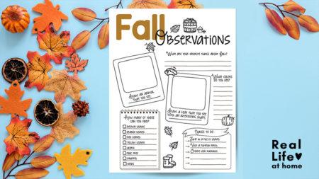 Fall Nature Study Printable